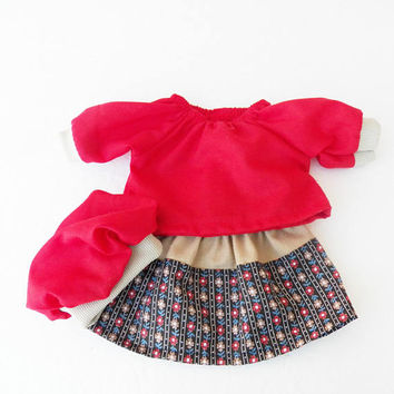"""bitty baby clothes FREE SHIPPING with another purchase 15""""  twin doll or 18"""" doll red black flower 3 pc skirt handmade adorabledolldesigns"""