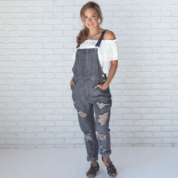 Back Ally Denim Distressed Charcoal Overalls