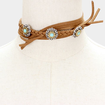 "33"" turquoise braided tie wrap choker collar necklace boho faux suede"