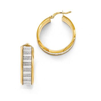 8mm Glitter Inlay Round Hoop Earrings in Gold Tone Plated Silver, 27mm