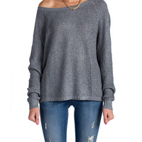 Copy of Heathered and Knitted Long Sleeve Top - Black