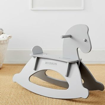 Gray Wooden Horse Rocker