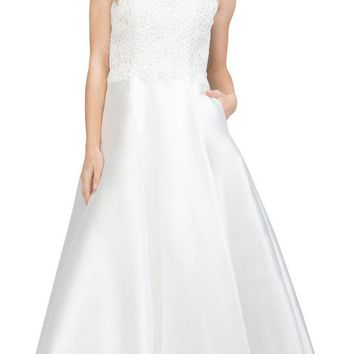 Off White Prom Ball Gown Illusion Neckline with Pockets