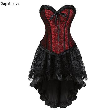 Sapubonva Gothic Floral Lace up Corset Dress Showgirl Clubwear Lingerie Costume Burlesque Corset and Skirt Set Exotic Women's