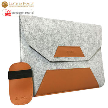 For macbook air 13 case PU Leather + wool felt  bag for macbook air 11.6 12 13.3 retina 15.4 inch laptop Sleeve with mouse pouch