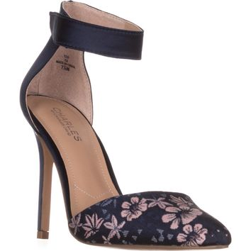 Charles Charles David Pointer Ankle Strap Pump Sandals, Navy Multi Floral, 7.5 US