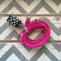 New Super Cute Cream & Black Heart Designed Dual USB Wall Connector + 10ft Hot Pink Braided Samsung Galaxy S5 Cable Cord
