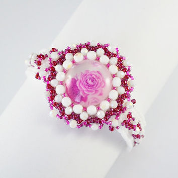 SUMMER SALE Pink rose romanticism bracelets pink beads handicraft