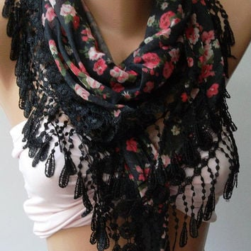Elegance  Shawl / Scarf with Lacy Edge-