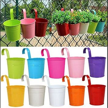 New 10 Pcs Metal Iron Hanging Planters Balcony Garden Plant Pots Bucket Flower Pot Holders For Wall Vase Fence Window Home Decor