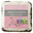 Cute Owls on Branch Baby Girl Shower Pink Square Brownie