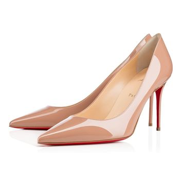 Best Online Sale Christian Louboutin Cl Decollete 554 Nude Patent Leather 85mm Stiletto Heel Classic