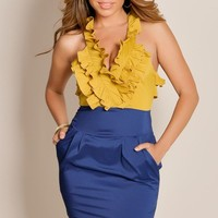 Cute Yellow Navy Blue Nautical Chic Sleeveless Color Block Ruffle Top With Pockets Dress