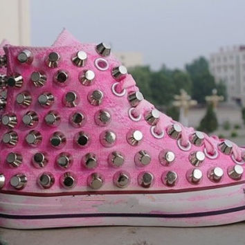 The stud shoes personality fashion pink shoes