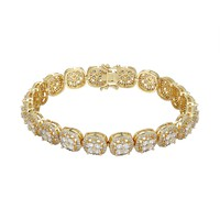 Men's Flower Cluster Solitaire Square Links Bracelet