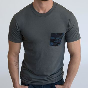 Grey with Blue & Black Camo Print Pocket Tee Sizes