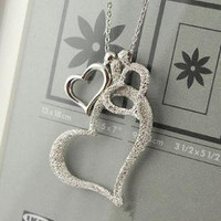 Heart to Heart Silver Rhinestone Necklace