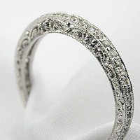 Filigree and Diamond Antique Style Wedding Band, RG-2807p