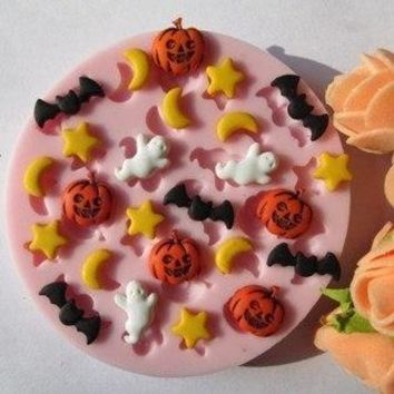 Hallowmas star moon bat pumpkin fondant molds,silicone mold soap,candle moulds,sugar craft tools,chocolate mould,bakeware