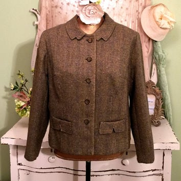 1950s Tweed Jacket, Sage Green Wool, 50s Vintage Clothing, Jackie O Style, Vintage Jackets, Mid Length, Vintage Business Attire, Size Large