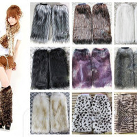Retail Roma women Winter Warm Leg Warmers Faux Fur 40cm Boots Shoes Cover Cuff Furry Soft leg Ankle warmer T-36