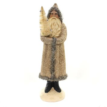 Christmas GOLD SANTA WITH TREE Polyresin Department 56 6002511