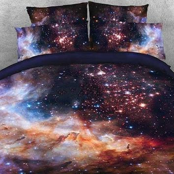 3D Galaxy and Galactic Nebula Printed Cotton Luxury 4-Piece Bedding Sets/Duvet Covers