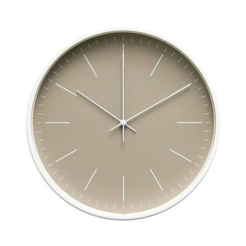 """Contemporary Interior Design Minimalist Palette 12"""" Silent Non-Ticking Sweep Wall Clock with White Gloss Frame (Sandalwood)"""