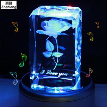 Rose 3D Crystal Ball Pokemon Go Glass Ball Home Decoration Lamp LED Colorful Rotate Base Music Box Art Furnishing Articles