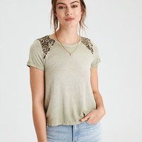 AE Soft & Sexy Lace Inset T-Shirt , Leaf Green