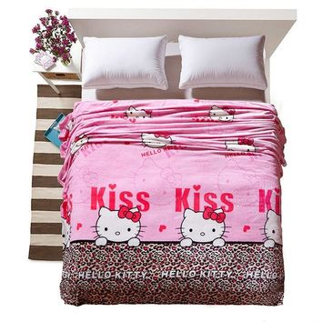 Cool Cartoon Hello Kitty Blanket Thin Soft Fleece Blankets Throws on Winter Bed Sheet Sofa Twin Full Queen King For ChildrenAT_93_12