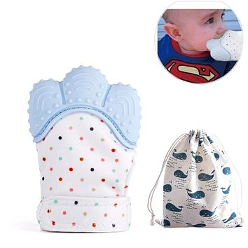 Baby Teethers Natural Silicone Gloves Waterproof Fabric