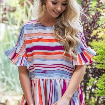 Low Babydoll Flutter Striped Top