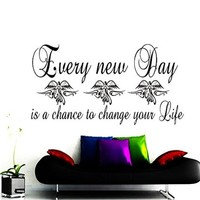 Wall Decals Quote Every New Day Is a Chance Decal Vinyl Sticker Home Decor Bedroom Interior Window Decals Mural Art Motivation Quote