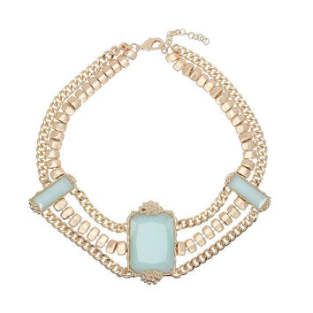 Baby Blue Opaque Stone Chain Bib Necklace