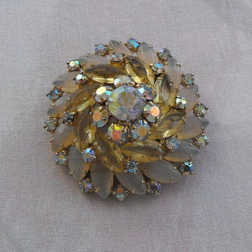 D and E Juliana Hi Rise Brooch Moonstones Citrine Navettes AB Rhinestone Vintage