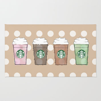Polka Dot Watercolor Frappuccino Area & Throw Rug by KJ53321 | Society6