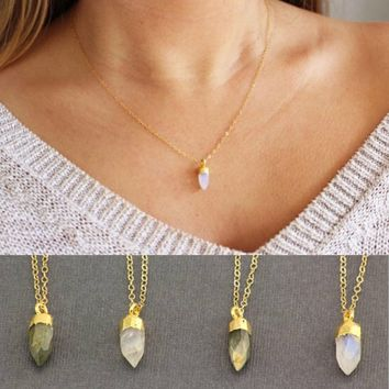 Crystal Point Necklace. 14k Gold Filled Chain Crystal Necklace. Gemstone Spike Jewelry. Gemstone Pendant Necklace. Simple Gemstone Necklace