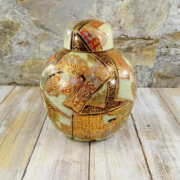 Vintage Satsuma Moriage Ginger Jar, Heavy Gold Gilt, Hand Painted