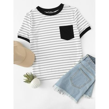 Patch Pocket Striped Ringer Tee Black and White