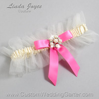 """Ivory and Pink Tulle Wedding Garter Bridal Garter """"Natalie"""" Silver 871 Ivory 142 Persian Pink Prom Luxury Garter Plus Size & Queen Size"""