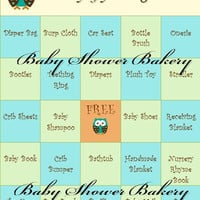 Baby Shower Bingo Game, Printable Baby Shower Game, Baby Shower Gift Bingo, Set of 40 Cards, Rustic Owl Baby Shower Game