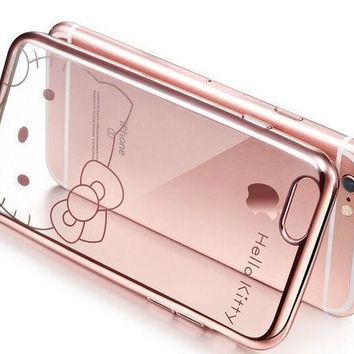 Lovely Cartoon Hello Kitty Clear Soft Tpu Rose Gold Sliver Cover Case For Apple Iphone 6 6s 6 Plus 6s Plus