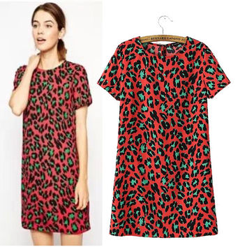 Stylish Round-neck Short Sleeve Leopard Cotton Women's Fashion Dress Skirt One Piece Dress [5013329220]