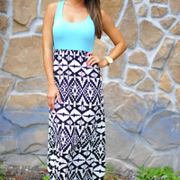 Straight To The Point Maxi Dress: Aqua | Hope's