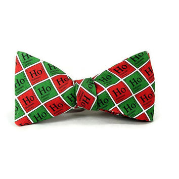 periodic table christmas bowtie, red green, science bowtie, chemistry christmas, nerd gifts for him, table of elements, ho ho ho