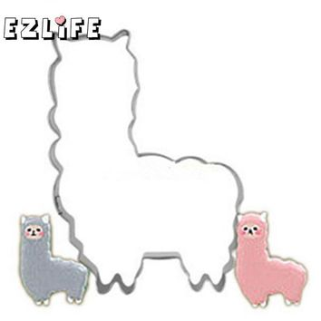 1Pcs Cute Llama Cookie Cutter Stainless Steel Animals Biscuit Molds Stamp Alpaca Kitchen Baking Tool 2 Design CHW0438