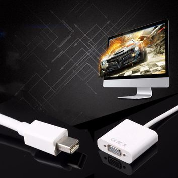 1pcs Mini DisplayPort Display Port DP To VGA Adapter Cable for Apple for MacBook Air Pro iMac Mac Mini Adapter Cable White