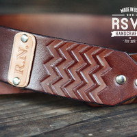Custom Leather Camera Strap, Handmade personalized gift, Brown stain, Chevron, hipster zig zag, hand stitched, Custom text, name initials