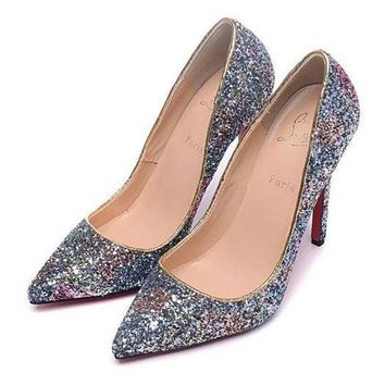 PEAPON CL Christian Louboutin Women Sequins Pointed Toe Heels Shoes